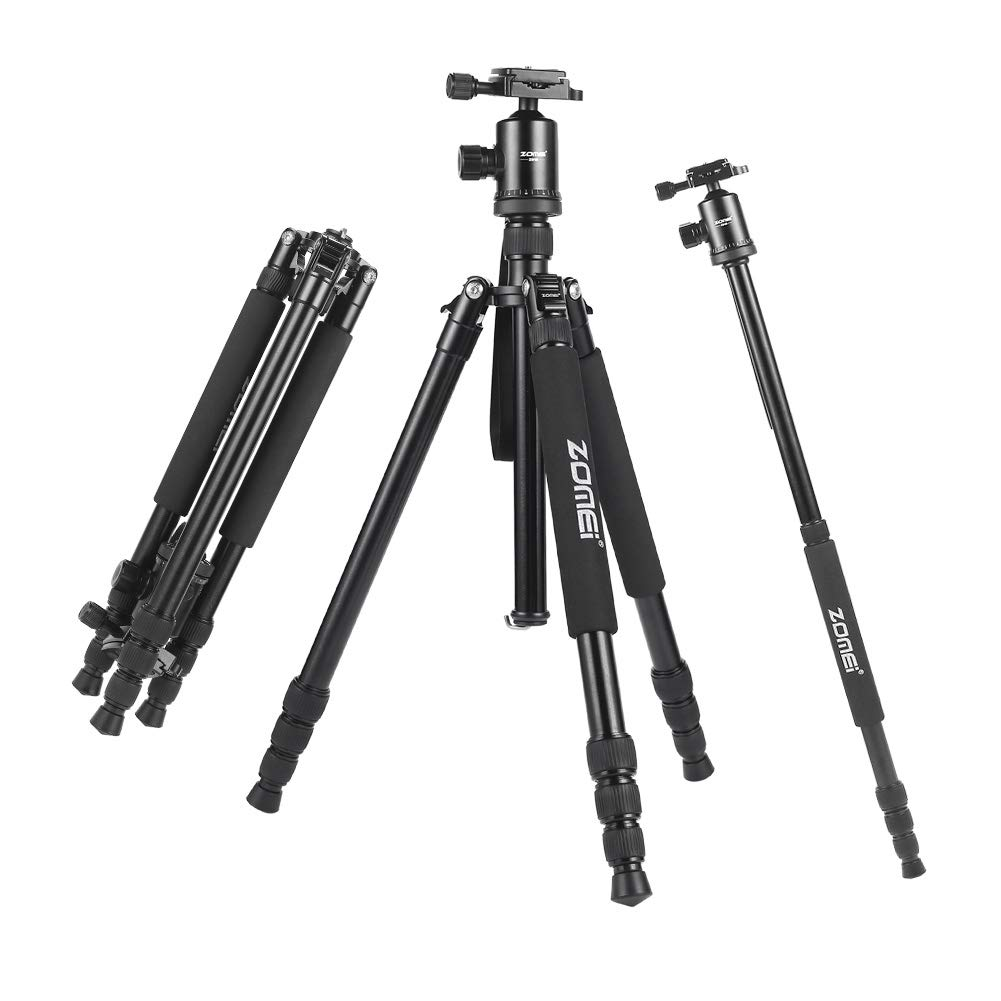 Professional Camera Travel Tripod Monopod with Ball Head Quick-Release Plate