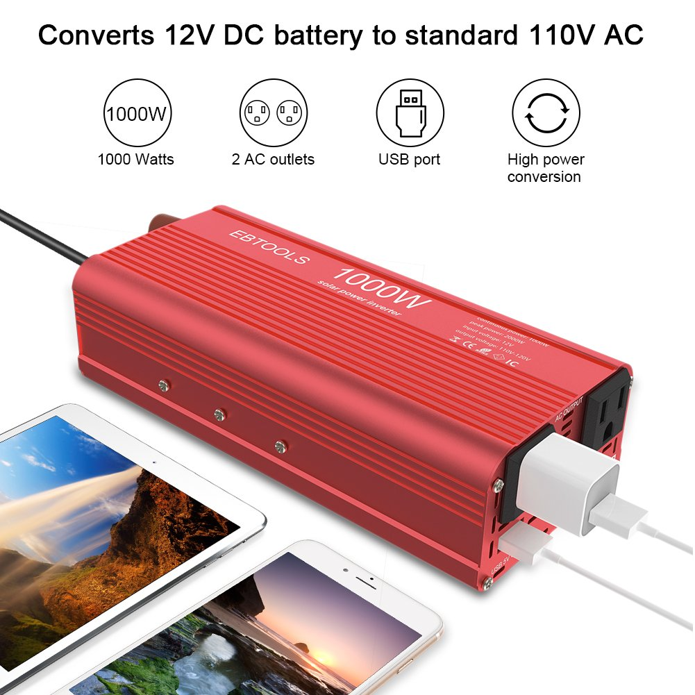 Peak imoli 300W//500W Power Inverter DC 12V to AC 110V Car Inverter Modified Sine Wave Power Converter 3.1A Dual USB 2 AC Outlets for Emergency Home Travel